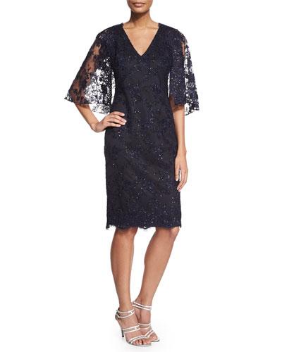 Lace Cape Sheath Cocktail Dress