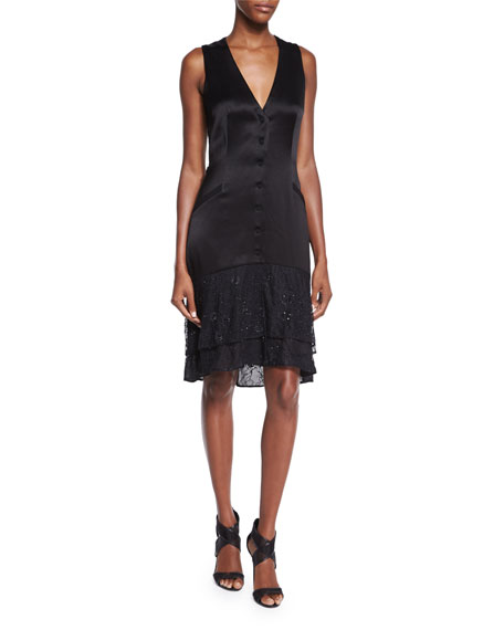Diane von Furstenberg Cathy Sleeveless Lace-Trim Satin Dress,