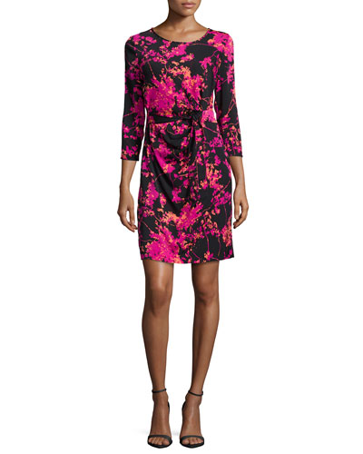 Zoe Floral Daze Sheath Dress, Black/Pink