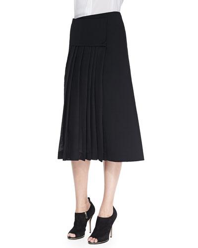 Midi Mid-Calf Pleated Wrap Skirt