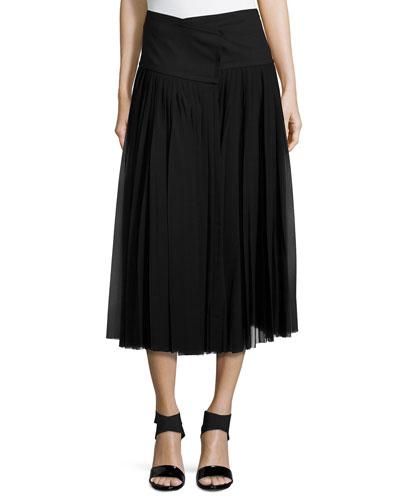 Pleated Wrap Midi Skirt, Black