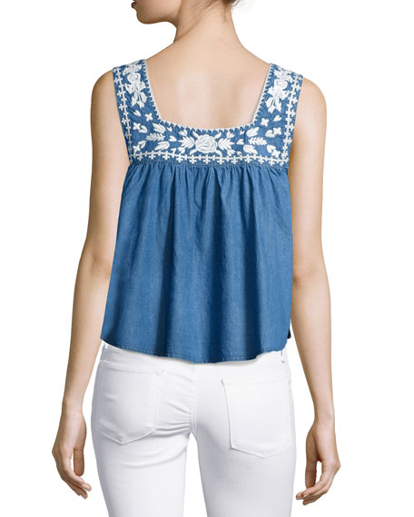 Lovers And Friends Dream Catcher Embroidered Top, Blue Lagoon