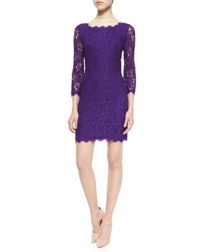 Zarita 3/4-Sleeve Lace Sheath Dress, Purple