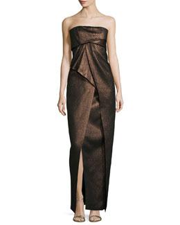 Strapless Pleated Metallic Gown, Bronze