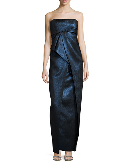 Strapless Pleated Metallic Gown, Ciel Gelee