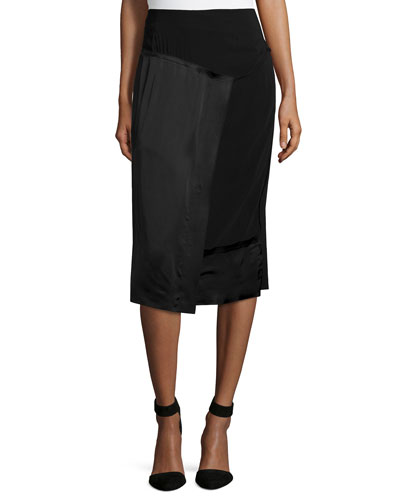 Scissor-Wrap Pencil Skirt, Black