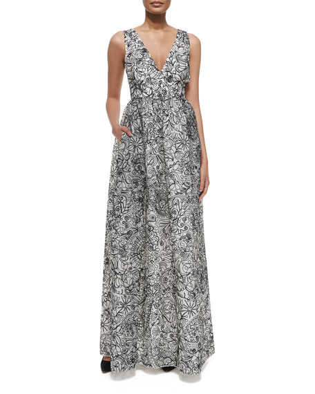 Tory Burch Floral Multipattern Silk Organza Gown, Ivory/Black