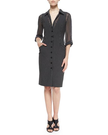 Diane von FurstenbergGilet Striped Vest Dress, Black/Gray