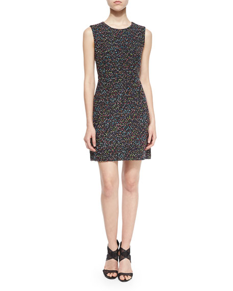 Diane von Furstenberg Carrie Tweed A-Line Dress, Black/Multicolor