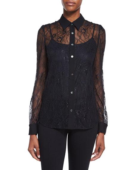 Diane von Furstenberg Mariah Long-Sleeve Lace Blouse, Black