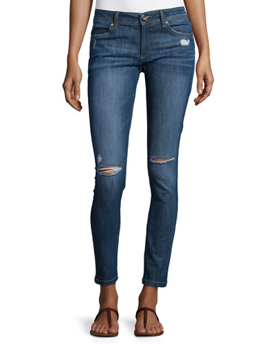 Emma Distressed Ankle Legging Jeans, Heath
