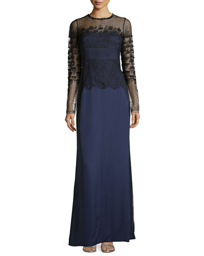 Long-Sleeve Lace Combo Gown, Marine