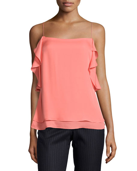 Derek Lam 10 Crosby Sleeveless Ruffled Silk Cami,