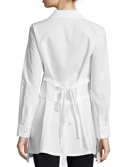 Long-Sleeve Tie-Back Shirt, Soft White