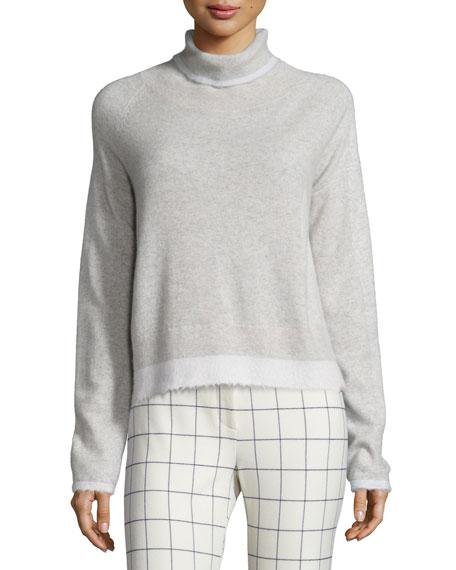 Derek Lam 10 Crosby Knit Turtleneck Sweater, Light Gray/Soft White