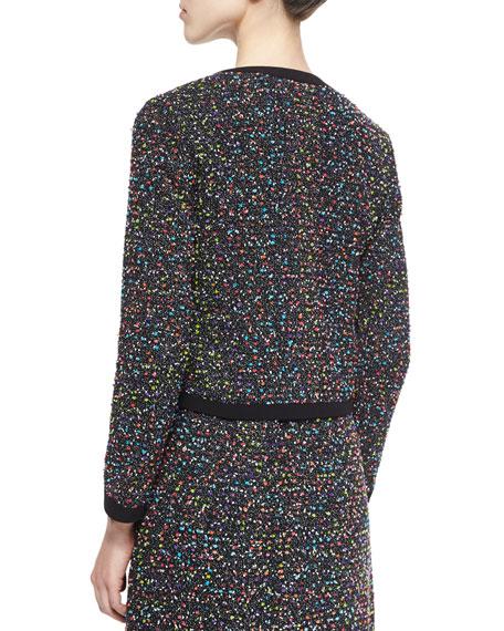 Emery Splatter-Print Tweed Jacket, Black/Multicolor