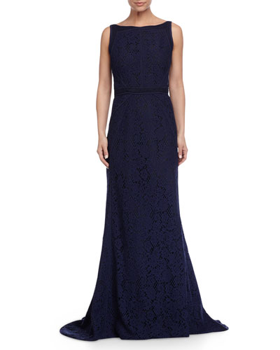 Sleeveless Lace Gown W/Tonal Piping, Marine
