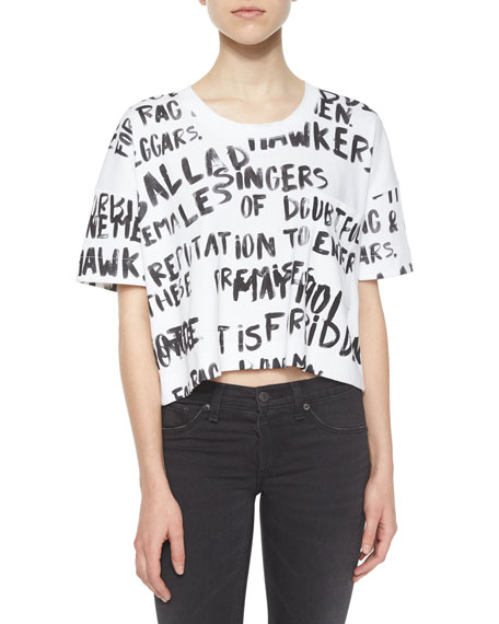 rag & bone/JEAN Charley Printed Crop Top, White/Black