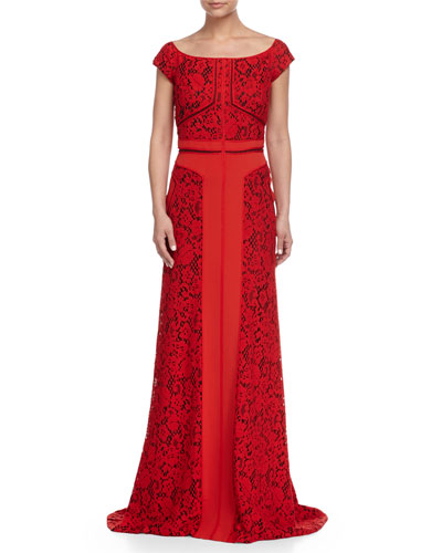 Off-Shoulder Lace Combo Gown, Rouge