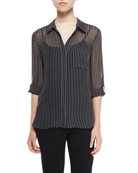 Diane von Furstenberg Lorelei Striped Silk Blouse, Gray/White