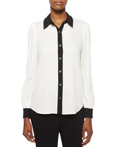 Mariah Contrast-Trim Silk Blouse, White/Black