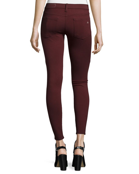 Low-Rise Ponte Leggings, Burgundy