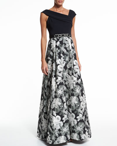 Asymmetric-Neck Floral Skirt Ball Gown