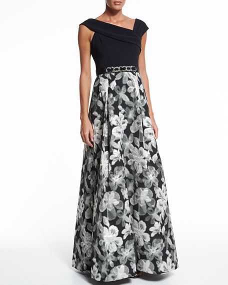 Rickie Freeman for Teri Jon Asymmetric-Neck Floral Skirt