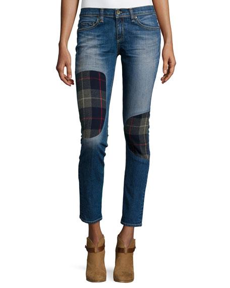 rag & bone/JEAN Dre Low-Rise Patchwork Denim Jeans,
