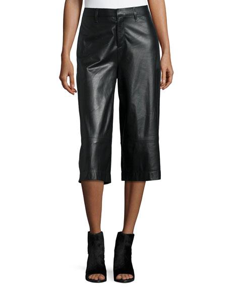 rag & bone/JEAN High-Waist Wide-Leg Leather Gaucho Pants,