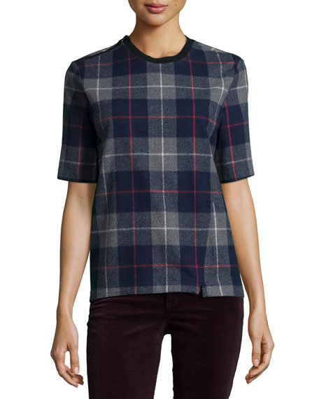 rag & bone/JEAN Austin Plaid Short-Sleeve Top, Charcoal