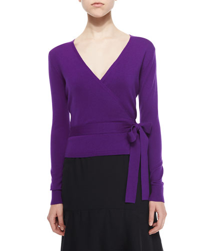 Long-Sleeve Ballerina Wrap Sweater, Royal Purple