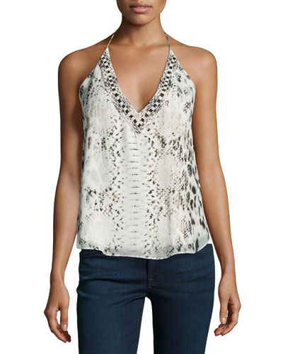 Scarface Beaded Printed Silk Halter Top