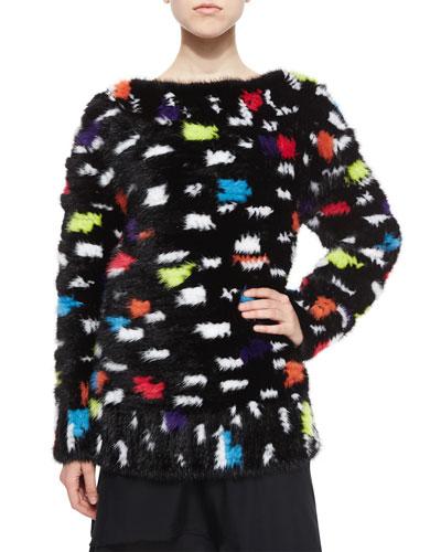 Printed Mink Fur Sweatshirt, Black/Multicolor