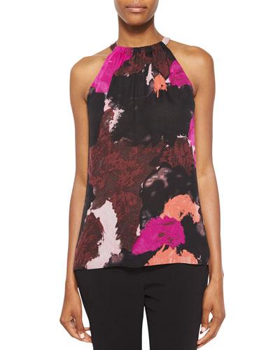 Pania Dancing Explosion Grecian Blouse, Black/Multicolor