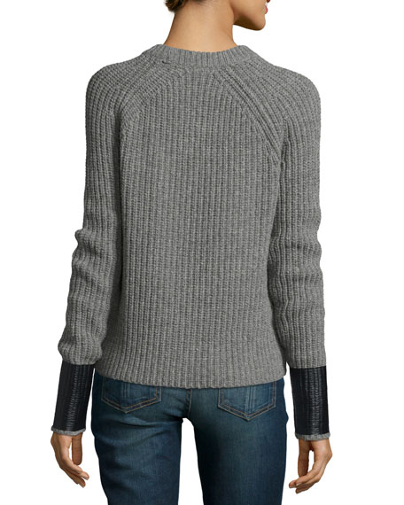 Bonnie Crewneck Long-Sleeve Sweater, Medium Gray