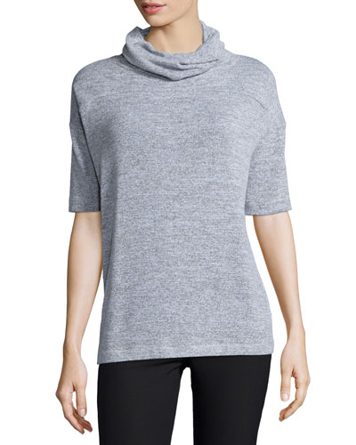 Blake Short-Sleeve Turtleneck Top, Gray Heather