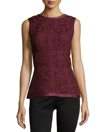 Sleeveless Floral-Lace Top, Vin