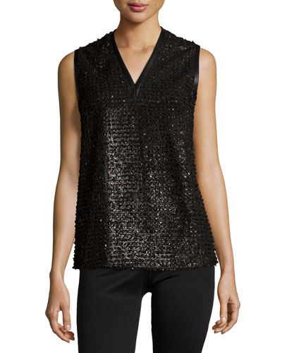 Sleeveless Textured Leather Top, Noir