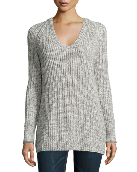 Karen V-Neck Long-Sleeve Sweater, Gray/White
