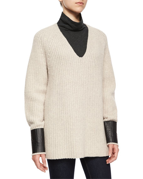 rag & bone/JEAN Bonnie V-Neck Ribbed Sweater, Oatmeal