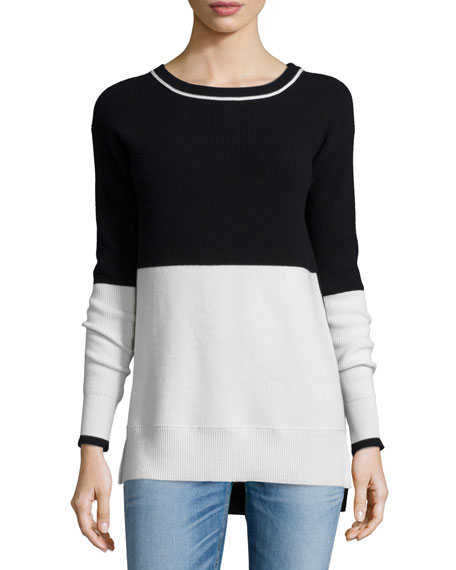 rag & bone/JEAN Pamela Colorblock Stripe Sweater, Black/White