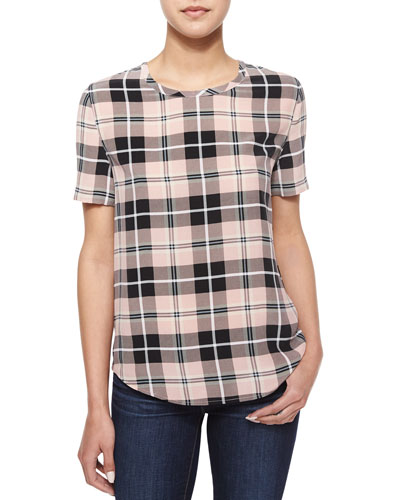 Riley Short-Sleeve Plaid Top, True Blush