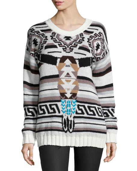 Tribal-Print Sweater, Black Serape