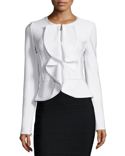 Ruffle-Front Fitted Jacket, Alabaster