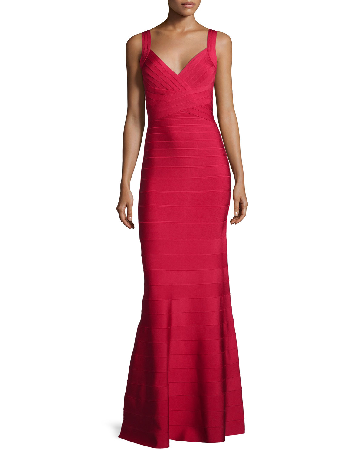 Herve Leger Deep V-Neck Bandage Gown, Red | Neiman Marcus