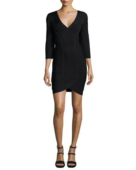Herve Leger 3/4-Sleeve Bandage Dress, Black