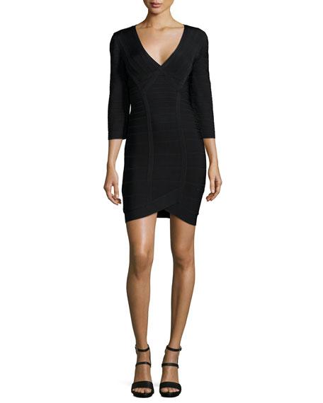 Herve Leger 3/4-Sleeve Bandage Dress, Black