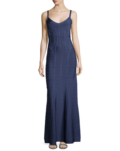 Sleeveless Bandage Gown, Deep Sea