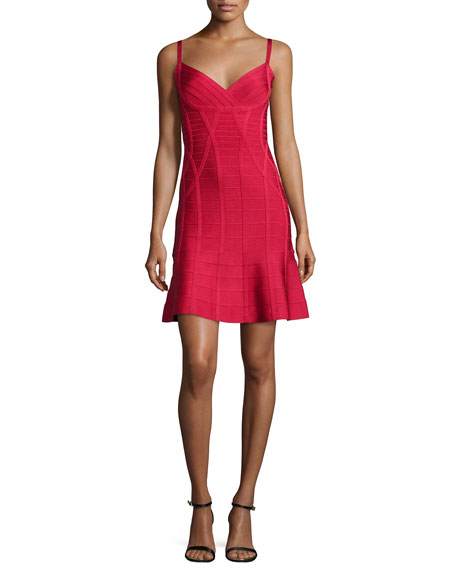Herve Leger Flounce-Skirt Bandage Dress, Lipstick Red
